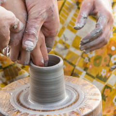 The hands of pottery masters