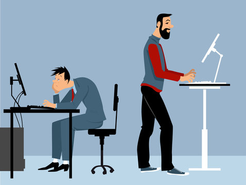 Two man working at the office on the computers, one of them using a standing desk, PS 8 vector illustration