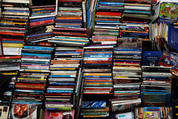 Books are displayed in a bookstore at the Oriente Train Station in Lisbon