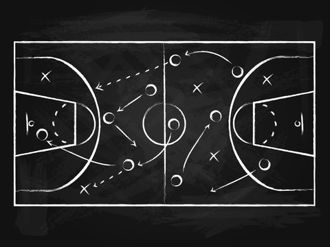 Black Chalkboard with Basketball Background Card. Vector