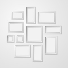 Realistic Detailed 3d White Blank Photo Frames Template Mockup Set. Vector