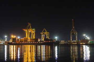 ship loading work in the container terminal in Riga, Latvia in the summer night