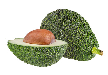 Fresh green avocado isolated on white background with clipping path