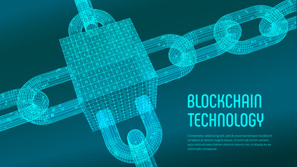Block chain. Crypto currency. Blockchain concept. 3D wireframe chain and isometric digital block with digital code. Editable cryptocurrency template. Stock vector illustration.