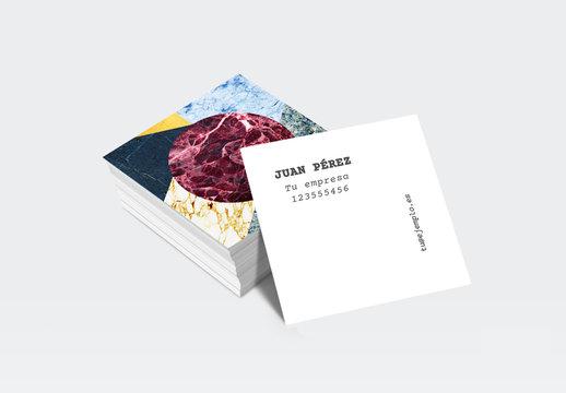 Diseño de tarjeta comercial cuadrada con motivo de mármol