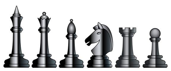 Chess black set illustration