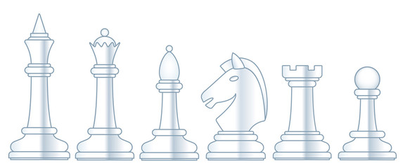 Chess white set illustration