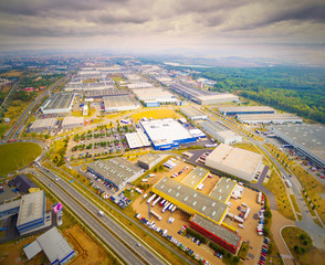 Aerial view to industrial zone and technology park on Karlov suburb of Pilsen city in Czech Republic, Europe. European industry from above.