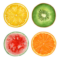 Set of watercolor fruits and  watermelon, paint  texture