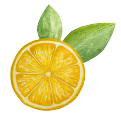 watercolor lemon with leaves, paint  texture