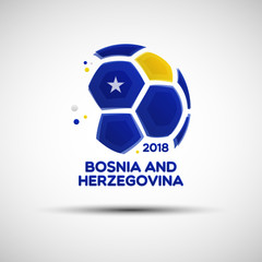 Abstract soccer ball with Bosnian and Herzegovinian national flag colors