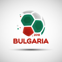 Abstract soccer ball with Bulgarian national flag colors