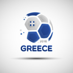 Abstract soccer ball with Greece national flag colors
