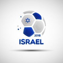 Abstract soccer ball with Israel national flag colors