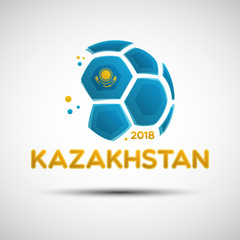 Abstract soccer ball with Kazakhstanian national flag colors