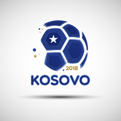 Abstract soccer ball with Kosovo national flag colors