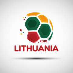 Abstract soccer ball with Lithuanian national flag colors