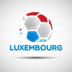Abstract soccer ball with Luxembourg national flag colors