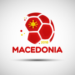 Abstract soccer ball with Macedonian national flag colors