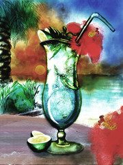 Cocktail in the sunset beach