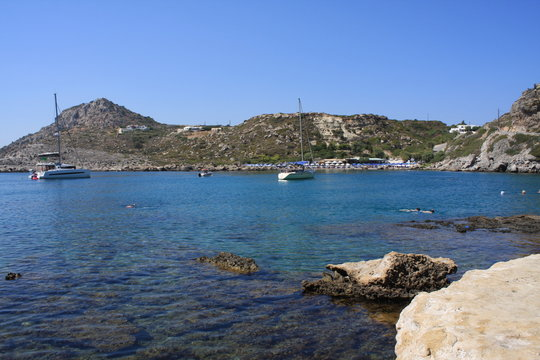 the beautiful beach at Anthony Quinn Bay Rhodes - Greece