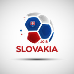 Abstract soccer ball with Slovakian national flag colors