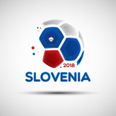 Abstract soccer ball with Slovenian national flag colors