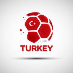 Abstract soccer ball with Turkish national flag colors