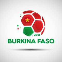 Abstract soccer ball with Burkina Faso national flag colors