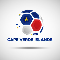 Abstract soccer ball with Cape Verde Islands national flag colors