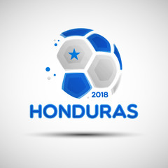 Abstract soccer ball with Honduran national flag colors