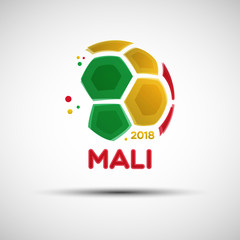Abstract soccer ball with Malian national flag colors