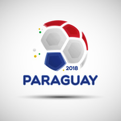 Abstract soccer ball with Paraguayan national flag colors