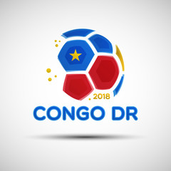 Abstract soccer ball with Democratic Republic of the Congo national flag colors