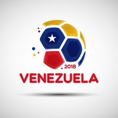 Abstract soccer ball with Venezuelan national flag colors