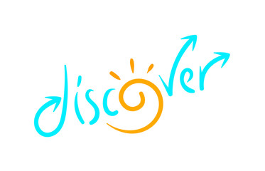 discover word, discover letter hand drawn colored concept