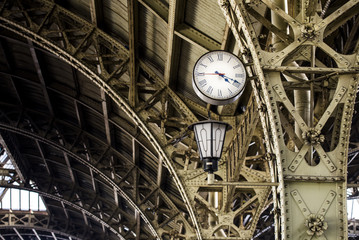 The clock close-up. Vitebsky railway station, St. Petersburg