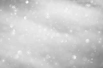 Winter bokeh light background with sparkle and snowflakes. Illustration background.