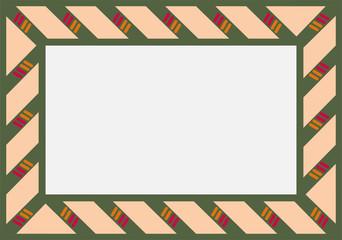 Marco de pergamino y tejido verde.
