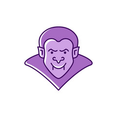 Dracula icon Vampire badge. Colorful flat Halloween icon. Thin line art design, Vector outline illustration