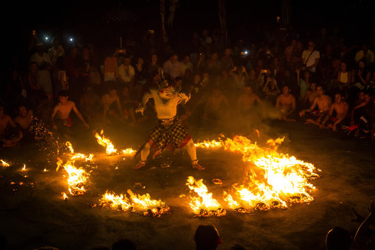 kecak dance and fire attraction with hanoman