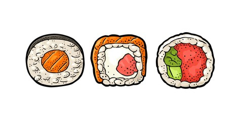 Set Sushi roll. Isolated on white background. Vector flat color illustration