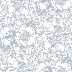 Vector seamless pattern with peony flowers.