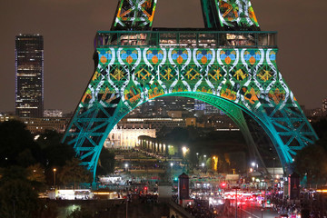 Light show on the Eiffel Tower to celebrate the Japanese cultural season and 160 years of diplomatic relations between France and Japan in Paris
