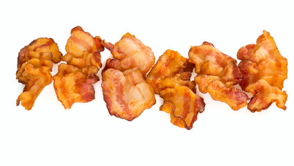 fried bacon isolated on white
