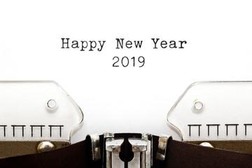 Happy New Year 2019 On Vintage Typewriter