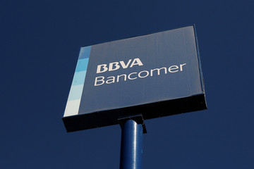 A sign of BBVA Bancomer bank is pictured at a branch in Ciudad Juarez