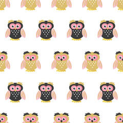 Seamless cute owls pattern. Vector childish illustration. Baby print.
