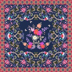 Beautiful carpet with luxury bouquet of flowers and ornamental frame with paisley. Indian, persian, turkish motives. Shawl, blanket, greeting card, wrapping design.