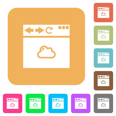 Browser cloud rounded square flat icons